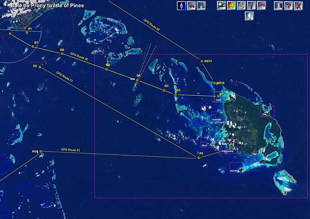 sailing routes to the isle of pines, new caledonia